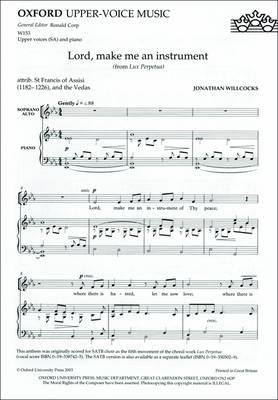 Lord, Make Me an Instrument (from Lux Perpetua): Sa Version (BOK)