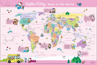 Hello Kitty Children's World Wall Map: with Free Stickers (BOK)