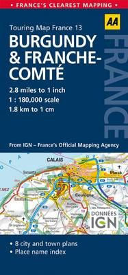 13. Burgundy & Franche-Comte: AA Road Map France (BOK)