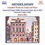 Mendelssohn: Complete works for Violin and Piano (CD)