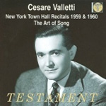Cesare Valletti - New York Town Hall Recitals 1959 & 60; The Art of Song (2CD)