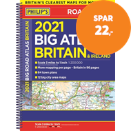Produktbilde for 2021 Philip's Big Road Atlas Britain and Ireland - (A3 Spiral binding) (BOK)